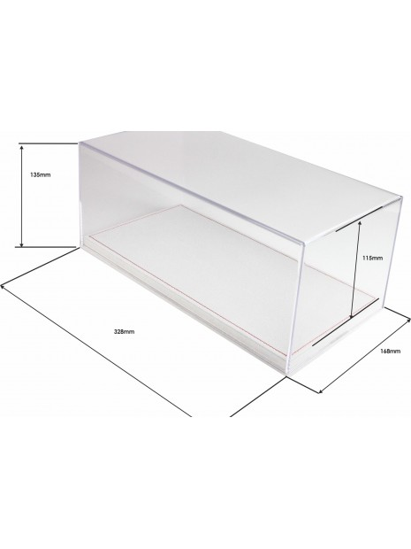 Display Case With Alcantara Base In Light Beige And Red Stitching 1/18 BBR BBR Models - 4